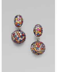 M.c.l  Matthew Campbell Laurenza | Multicolored Sapphire Paveacute Drop Earring | Lyst