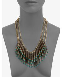 Stephen Dweck Blue Smoky Topaz Turquoise Bib Necklace
