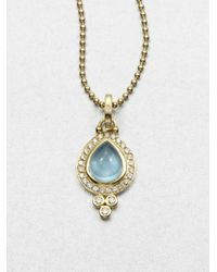 Temple St. Clair | Blue Classic Color Aquamarine, Diamond & 18k Yellow Gold Pear Pendant | Lyst