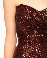 TFNC London Metallic Bandeau Sweetheart Sequin Dress