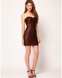 TFNC London Red Bandeau Sweetheart Sequin Dress