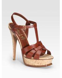 Saint Laurent | Brown Tribute Cork Platform Sandals | Lyst