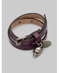 Alexander McQueen - Purple Patent Leather Skull Wrap Bracelet - Lyst