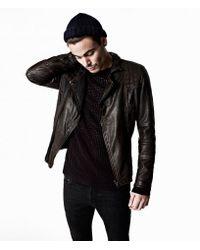 AllSaints - Black Cargo Leather Biker Jacket for Men - Lyst