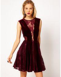 ASOS Purple Skater Dress in Lace and Velvet