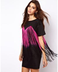 ASOS | Black Tee Dress with Fringing | Lyst