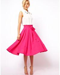 ASOS Pink Linen Midi Skirt with Belt
