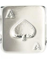 ASOS - Metallic Spades Signet Ring for Men - Lyst