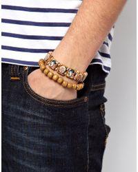 ASOS - Brown Tattoo Bead Bracelet for Men - Lyst