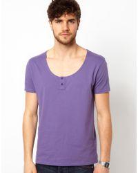 ASOS Blue T-shirt with Scoop Grandad Neck for men