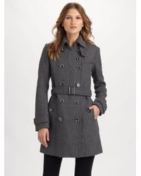 Burberry Brit | Gray Double-breasted Coat | Lyst