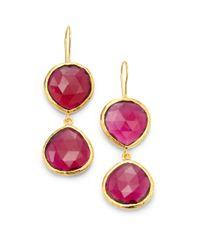 Coralia Leets | Pink Double Stone Drop Earringsred Hydro Quartz | Lyst