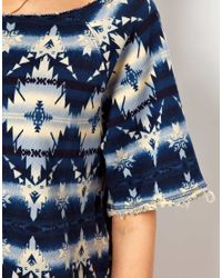 Denim & Supply Ralph Lauren - Blue Denim Supply Wide Neck Denim Look Sweat - Lyst