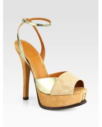 Fendi - Brown Sta Suede Metallic Leather Platform Sandals - Lyst