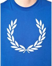 Fred Perry Blue T-shirt with Laurel Print for men