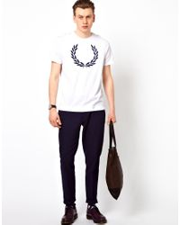 Fred Perry White T-Shirt with Laurel Print for men