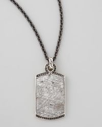 John Hardy - Metallic Batu Mens Meteorite Black Sapphire Dog Tag Necklace for Men - Lyst