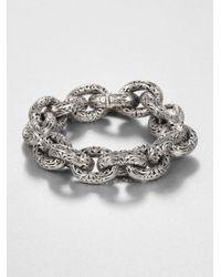 Konstantino - Metallic Sterling Silver Etched Link Bracelet - Lyst