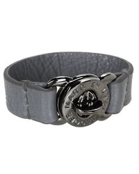 Marc By Marc Jacobs - Gray Large Turnlock Leather Bracelet - Lyst