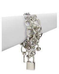Boutique Moschino | Metallic Triple Strand Lock Key Bracelet | Lyst