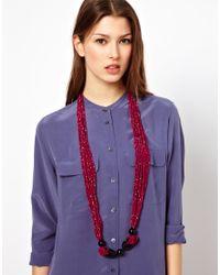 ASOS - Pink Nali Statement Multi Bead Necklace - Lyst