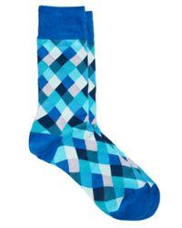 Paul by Paul Smith Blue Paul Smith Harlequin Socks for men