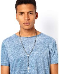 River Island - Gray Rosary Necklace for Men - Lyst