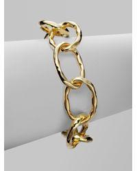 Roberto Coin | Metallic 18k Gold Large Link Martellato Bracelet | Lyst