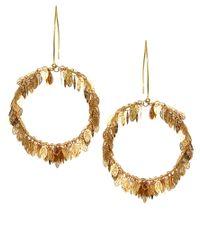 Sam Ubhi Metallic Statement Leaf Hoop Earrings