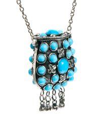 Sam Ubhi Metallic Embellished Stoned Perfume Bottle Necklace