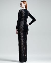 Stella McCartney Scallop Panel Lace Long Sleeve Gown Black