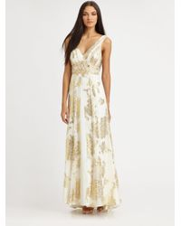Sue Wong | Natural Jacquard Gown | Lyst