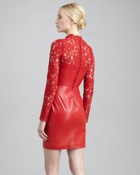 Valentino Red Laceyoke Leather Dress Rosso