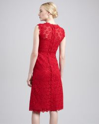 Valentino Red Rose Guipure Lace Sheath Dress Rouge