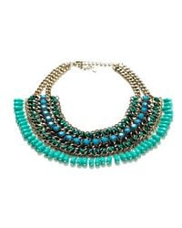 Zara | Green Cord Chain Necklace with Turquoise Stones | Lyst