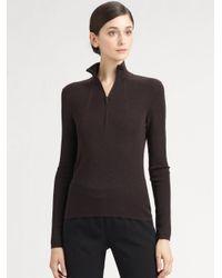 Akris Brown Mock Neck Front Zip Pullover