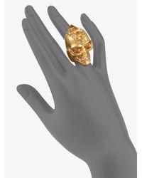 Alexander McQueen - Metallic Punk Skull Ringold Gold - Lyst