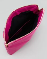 Alexander McQueen Skull Padlock Foldover Clutch Bag Pink
