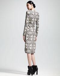 Alexander McQueen Gray Longsleeve Stained Glass Sheath Dress