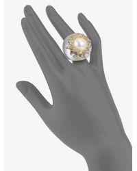 Alexis Bittar - Metallic Swarovski Crystal Accented Vine Frame Lucite Ring - Lyst