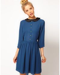 ASOS Collection - Blue Dress with Velvet Collar - Lyst