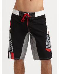 DIESEL Black Deck Board Shorts for men