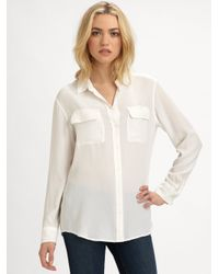 Equipment White Signature Silk Shirt