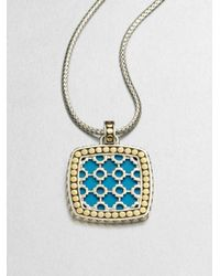 John Hardy | Metallic Turquoise 18k Yellow Gold and Sterling Silver Enhancer | Lyst