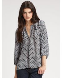 Joie | Green Addie Printed Silk Blouse | Lyst