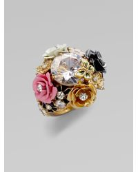 Juicy Couture - Metallic Stone Flower Cluster Ring - Lyst