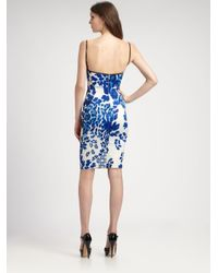 Just Cavalli Blue Leopardprint Patchwork Bustier Dress