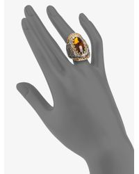 Konstantino - Brown Cognac Quartz Citrine Sterling Silver An 18k Yellow Gold Ring - Lyst