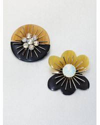 Marni - Multicolor Crystal Floral Brooch Set - Lyst
