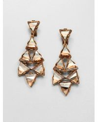 Oscar de la Renta | Metallic Triangle Chandelier Earrings | Lyst